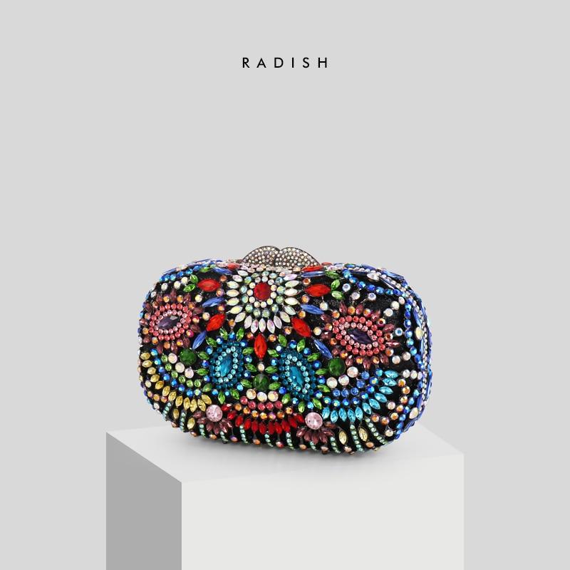 RABANETE Oco Out Floral Multicolor Pedrinhas Evening Partido Clutch Bag Com Contas Feitas À Mão Bolsa de Noite Das Mulheres