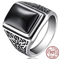Retro Black Natural Stone Real 925 Sterling Thai Silver Metal Europe Rings Men/Male Wedding Bridal Fine Jewelry Antique Designer