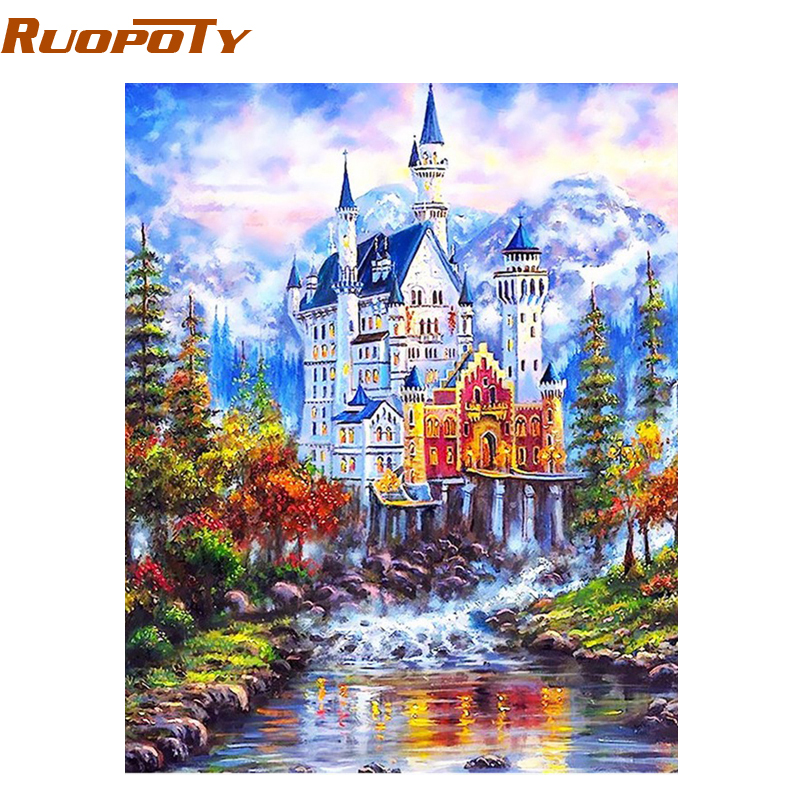 RUOPOTY fantasía Castillo paisaje DIY Digital pintura al óleo por números moderna pared arte cuadro lienzo pintura para decoración del hogar