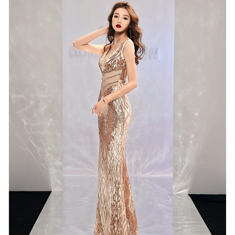 Long Sleeveless V Neck Mermaid   Evening     Dress   Open Back Mesh Sequins Bead Formal   Dress   Lace Applique Draped Tulle Prom Gowns