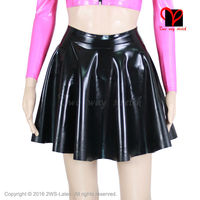 Black Sexy Latex Skirt Without Zipper Flares Circle Skater Cheerleader Swing Rubber Miniskirt Mini Skirt Playsuit Bodycon QZ 066