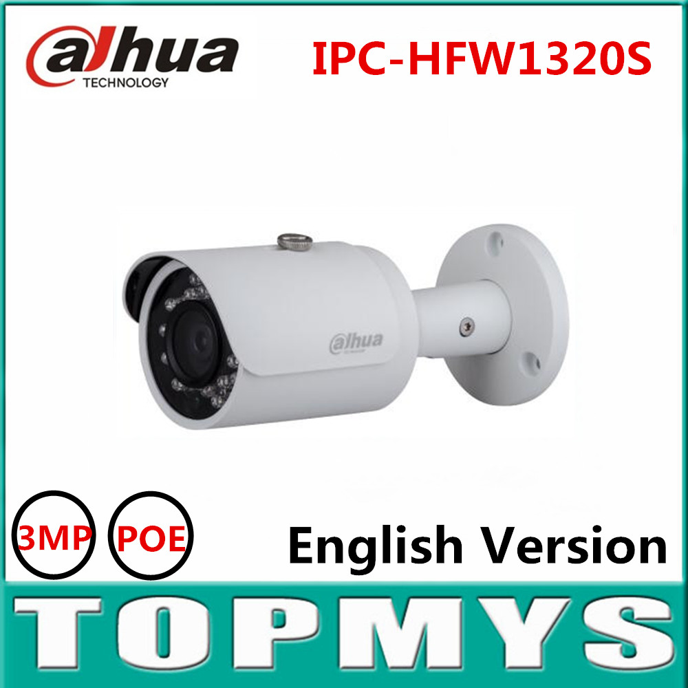 Free shipping 4pcs/lot DH-IPC-HFW1320S 3MP Mini Bullet IP Camera Day Night infrared CCTV Camera POE IP67 Waterproof Dahua Camera free shipping dahua cctv camera 4k 8mp wdr ir mini bullet network camera ip67 with poe without logo ipc hfw4831e se