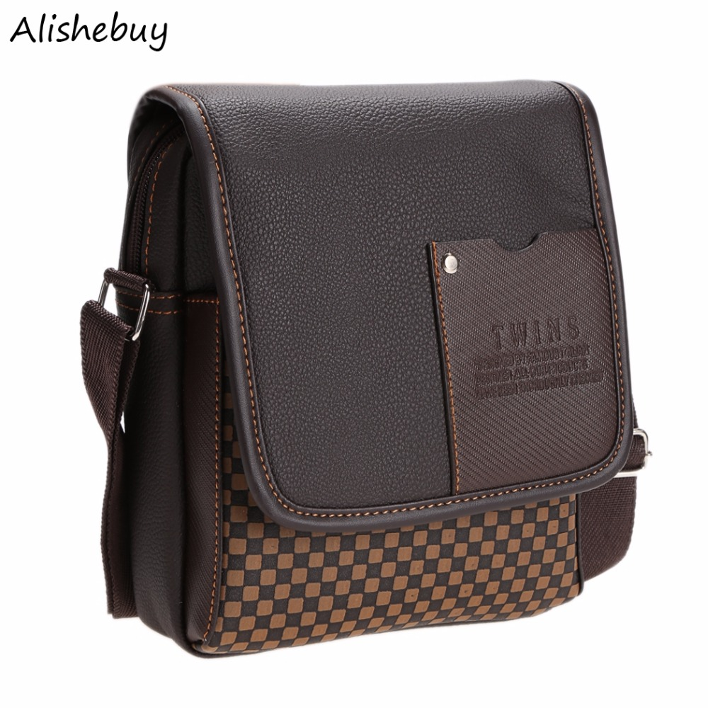 Top Hot Business Mans Small Messenger Bags Mens Crossbody Bags Leather Satchels Plaid Travel Shoulder Bags Brown Black SV004604