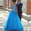 2016 elegante moldeado cristalino del vestido de fiesta de longitud de espalda abierta la princesa de tul azul ocasión especial graduación vestidos