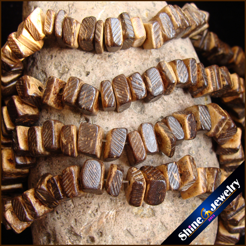 2 Strands 5mm Brown Color Coconut Shell Wood Square Shape Spacer Loose Beads 15.5 for Jewelry Making Gift 2 PCS Lobster Clasp