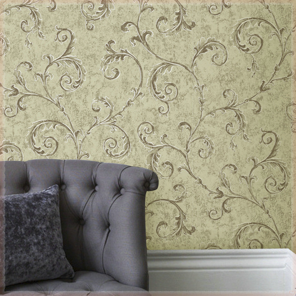 Charmant Wall Paper 150G Non Woven Wallpapers Gold Leaf Curl Crochet Continental  Bedroom Living Room Wallpaper Home Decoration Papeles Pi In Wallpapers From  Home ...