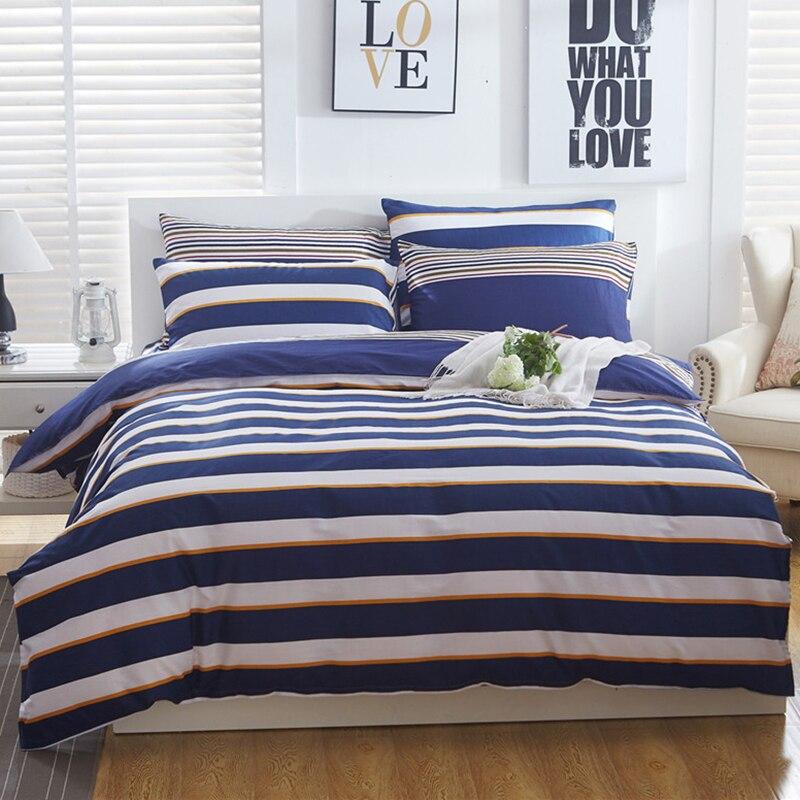 Wongsbedding Blue Stripe Bedding Set 100 Cotton Duvet