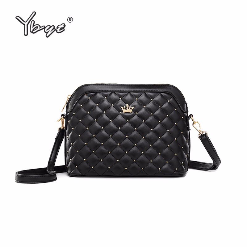 YBYT brand 2018 new imperial crown shoulder messenger crossbody bags diamond lattice women satchel fashion PU leather ladie bag