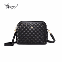 YBYT brand 2019 new imperial crown shoulder messenger crossbody bags diamond lattice women satchel fashion PU leather ladie bag
