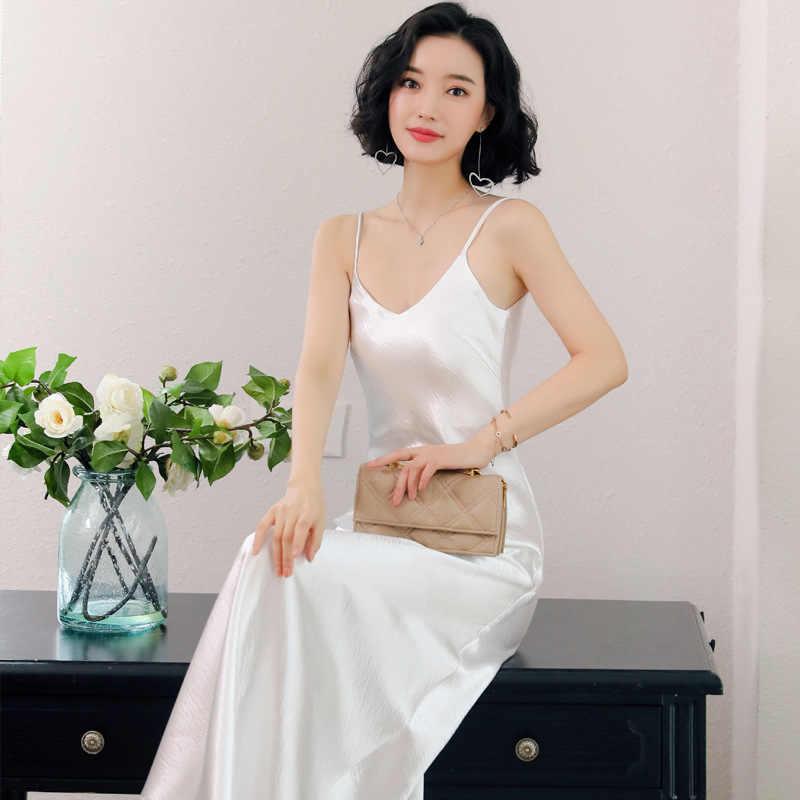 Gareмая 2019 летнее платье женские вечерние сексуальные миди белые черные красные длинные v-образным вырезом повседневные корейские атласные шелковые платья