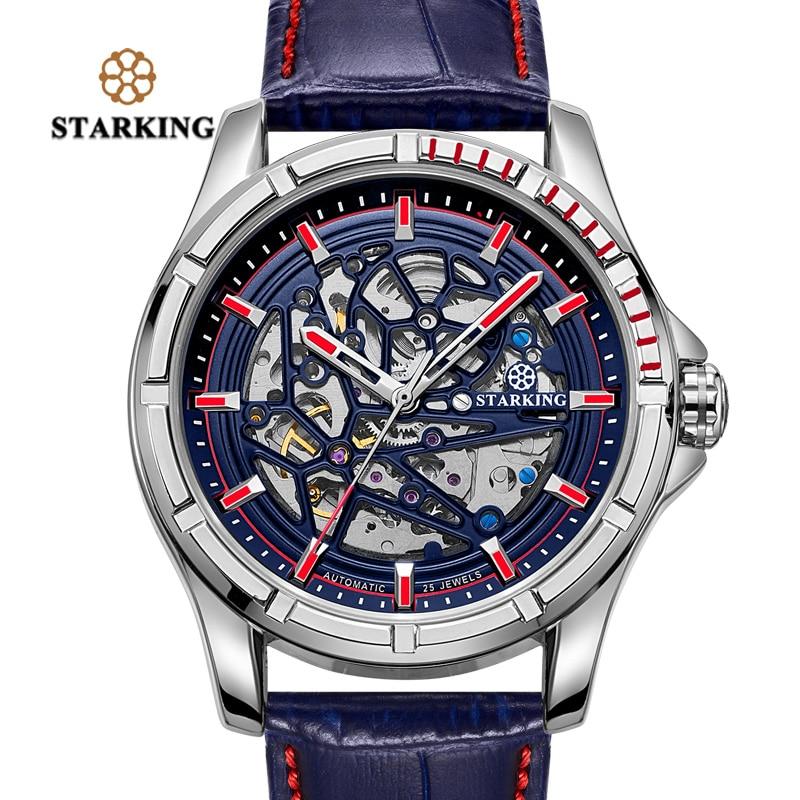 aed7e380763 STARKING Mens Movimento relógios de Pulso Masculino Relógio Relógios  Transparentes 28800 Alta Bate Couro Relogios Automaticos TM0271 Mecanic em  Relógios ...