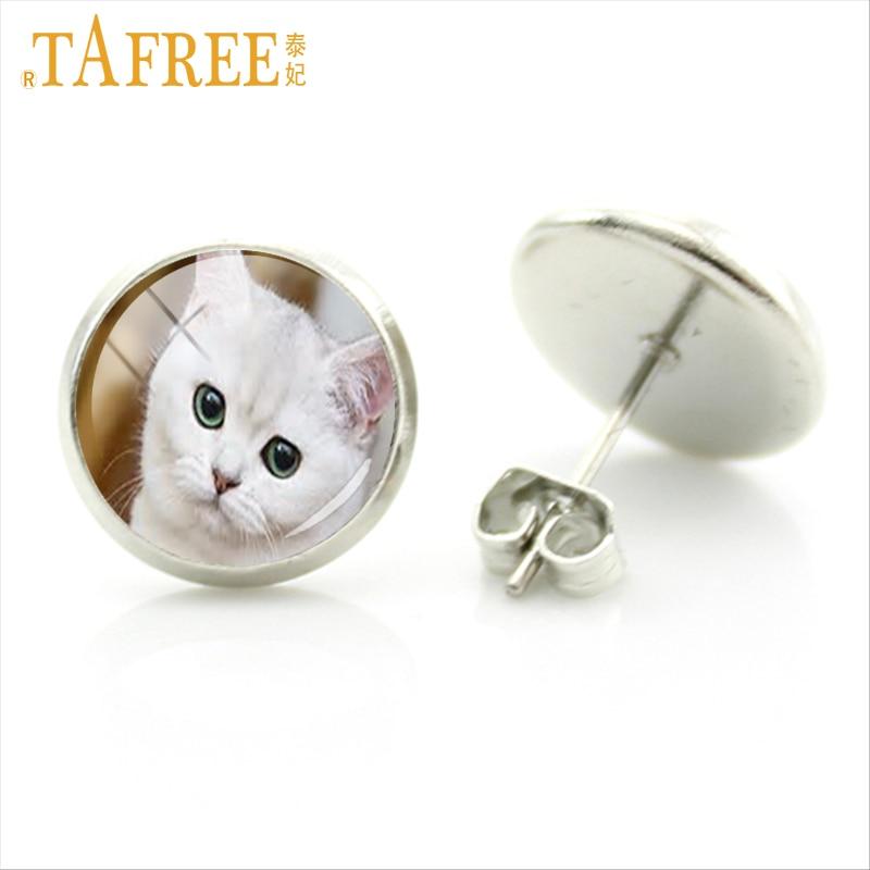 TAFREE fashion lovely animal art kitten cat stud earrings for women cat lovers vintage photo jewelry steampunk earring gift E801