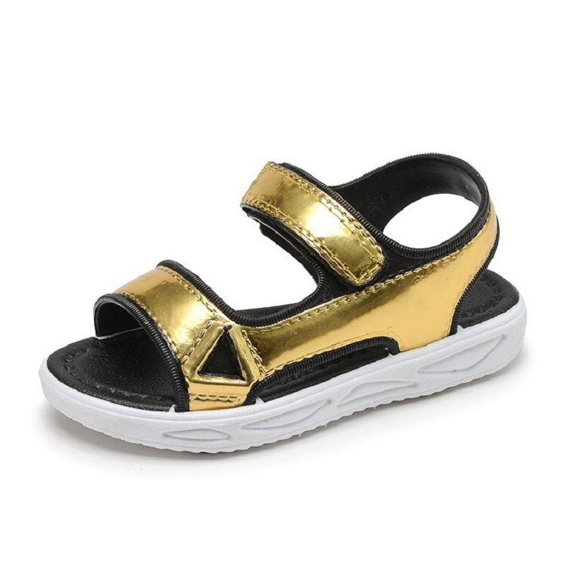 Fashion Shining Girls Sandals Princess Shoes Gold Silver Beach Sandals 2019 Girls Kids Shoes for Dance Party Girl Single Shoes in Sandals from Mother Kids