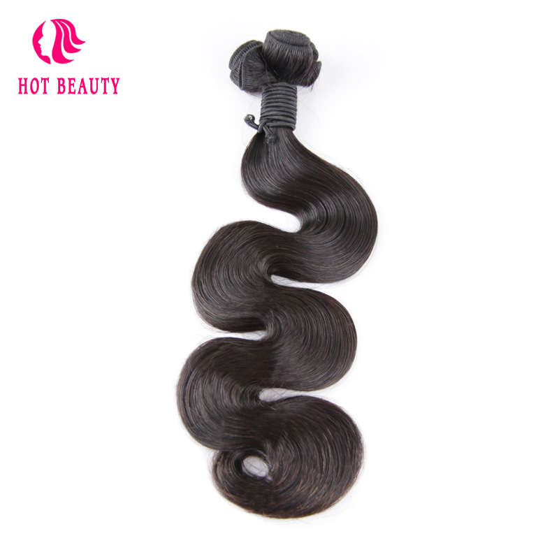 Hot Beauty Hair Brazilian Body Wave Weave Bundles 1 Piece 10-20 inch Natural Color Double Drawn Remy Human Hair Free Shipping ...