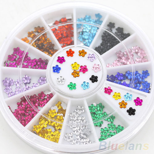 24 Wheels Nail Art 12 Colors Crystal Glitter Rhinestone Flower Manicure Wheel Studs