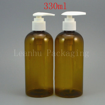(30PC/Lot)Wholesale 330ml Green Plastic Bottles,330cc Shower/ Cleansing Cream/ Lotion Packaging Container