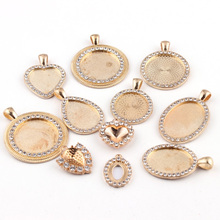 2 Pieces Of Various Champagne Gold Pendant Crystal Rhinestone Inlaid Cabochon Gem Base Tray Bezel Blank DIY Jewelry Findings