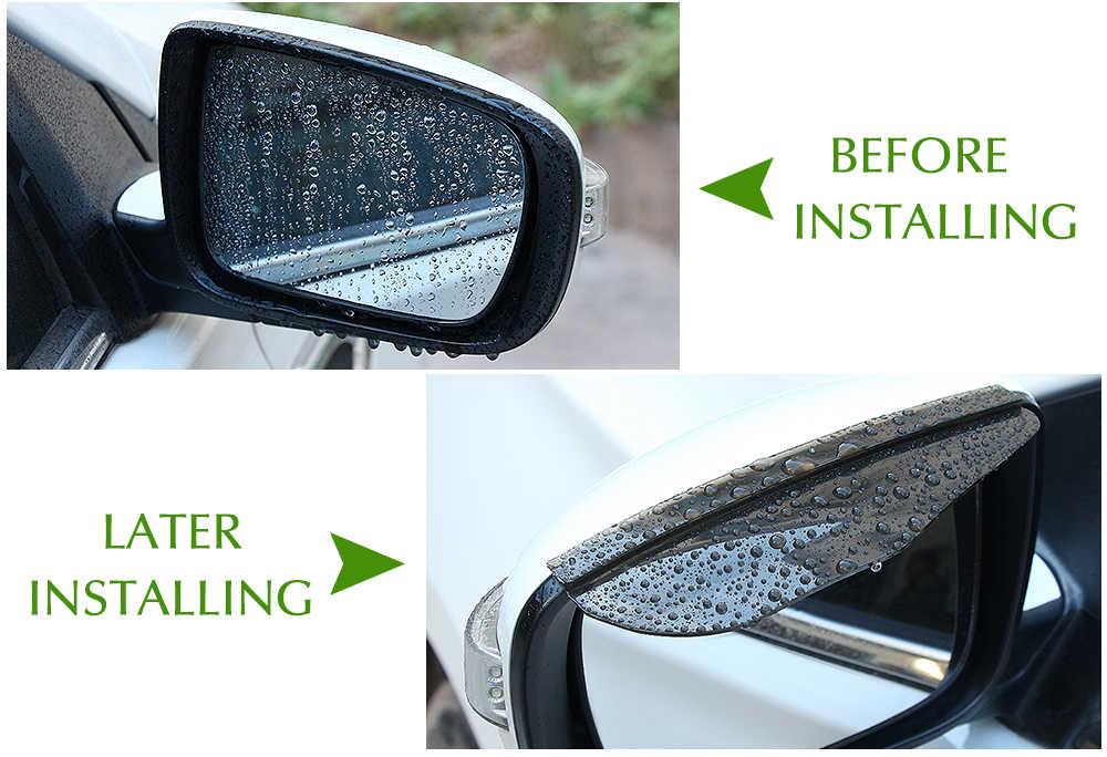 2 pcs سيارة التصميم PVC سيارة مرآة الرؤية الخلفية ملصقا المطر الحاجب لسكودا اوكتافيا a5 كيا ceed فورد التركيز 3 أوبل أسترا h لادا