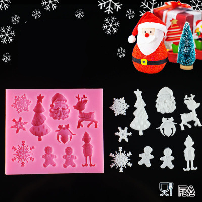 Hot sales Christmas theme silicone mold Fondant Cake Decorating Tools Silicone Soap Mold Silicone Cake Mold D136