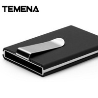 TEMENA High QualitId Metal Credit Card Holder Automatic Card Sets Business Aluminum Wallet Color Card Holder