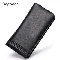 Male Wallet Genuine Leather Men Cluth Handy Bags Wristlet Phone Purse Men Wallets Rfid Card Protection Long Passport Wallet Boy