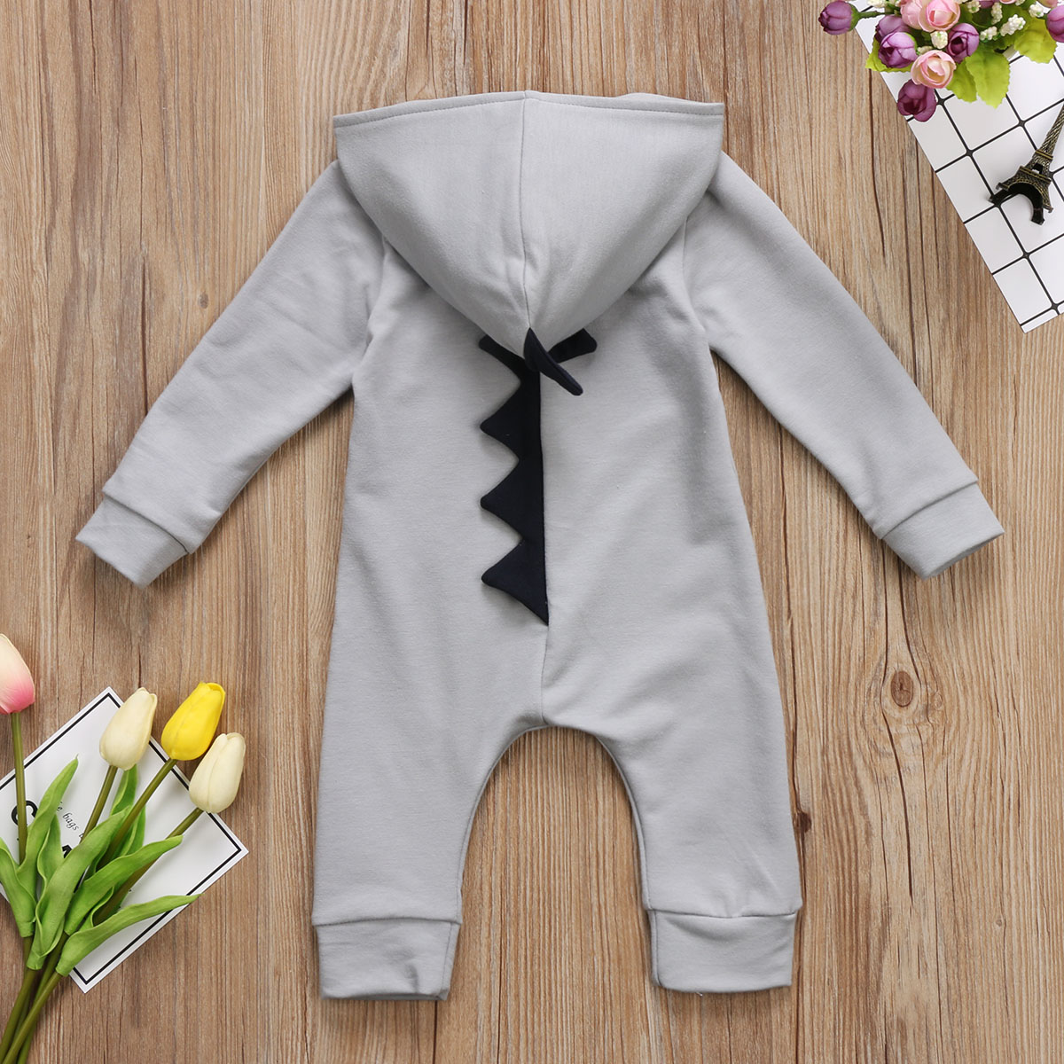 HTB1hn8TjMMPMeJjy1Xdq6ysrXXat Emmababy Baby Boy Girl 3D Dinosaur Costume Solid pink gray Rompers warm spring autumn cotton romper Playsuit Clothes