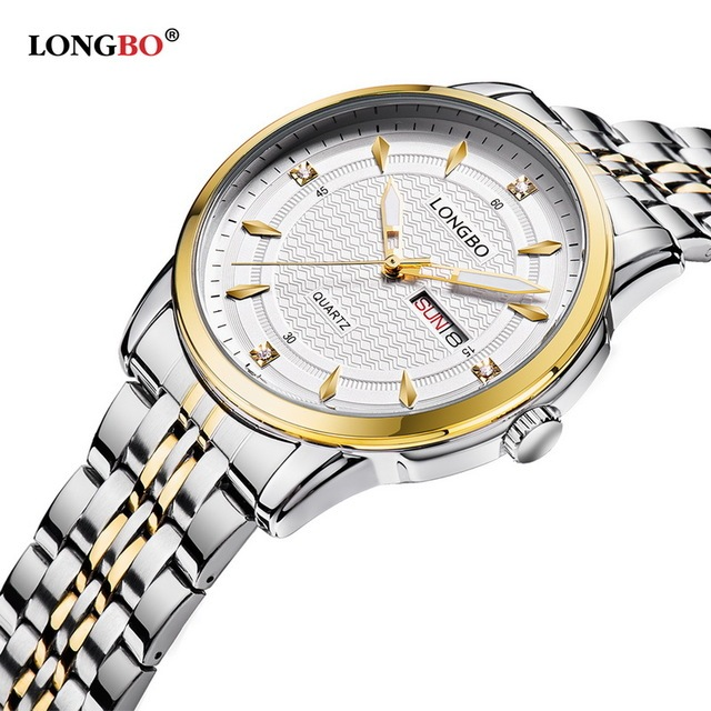 LONGBO Marca Ejército Deportes Chrongraph Analógico Relojes Pareja Calendario Completo de Acero de Cuarzo Resistente Al Agua Reloj Montre Homme 5006