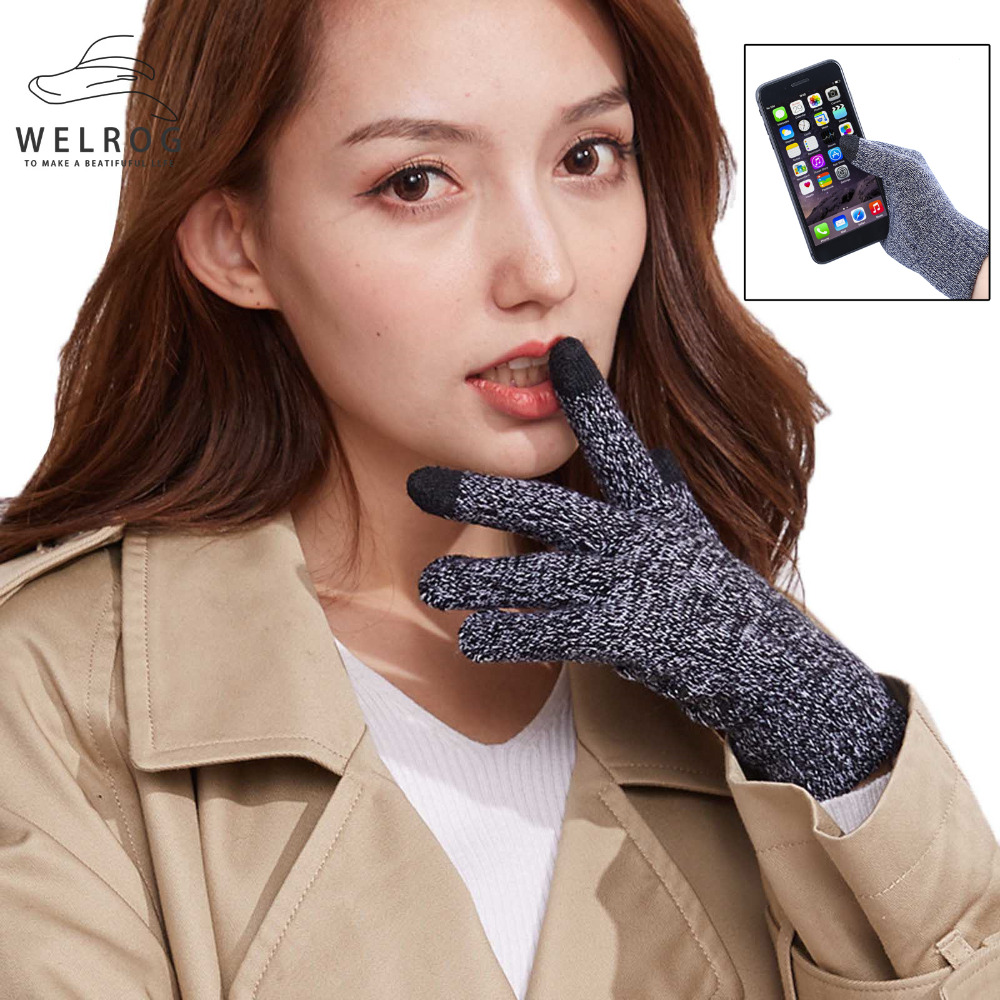 WELROG Knitted Gloves Mobile Phone Touch Screen Gloves Women Men Winter Warm Gloves Unisex Black Gray Outdoor Glove