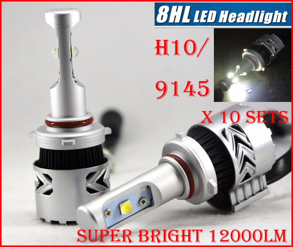 ФОТО DHL 10 Sets H10 9145 80W 8000LM CRE LED Headlight Auto CAR Kit 8th 8G XHP50 Chip Adjustable Holder All in One 6500K Driving Lamp