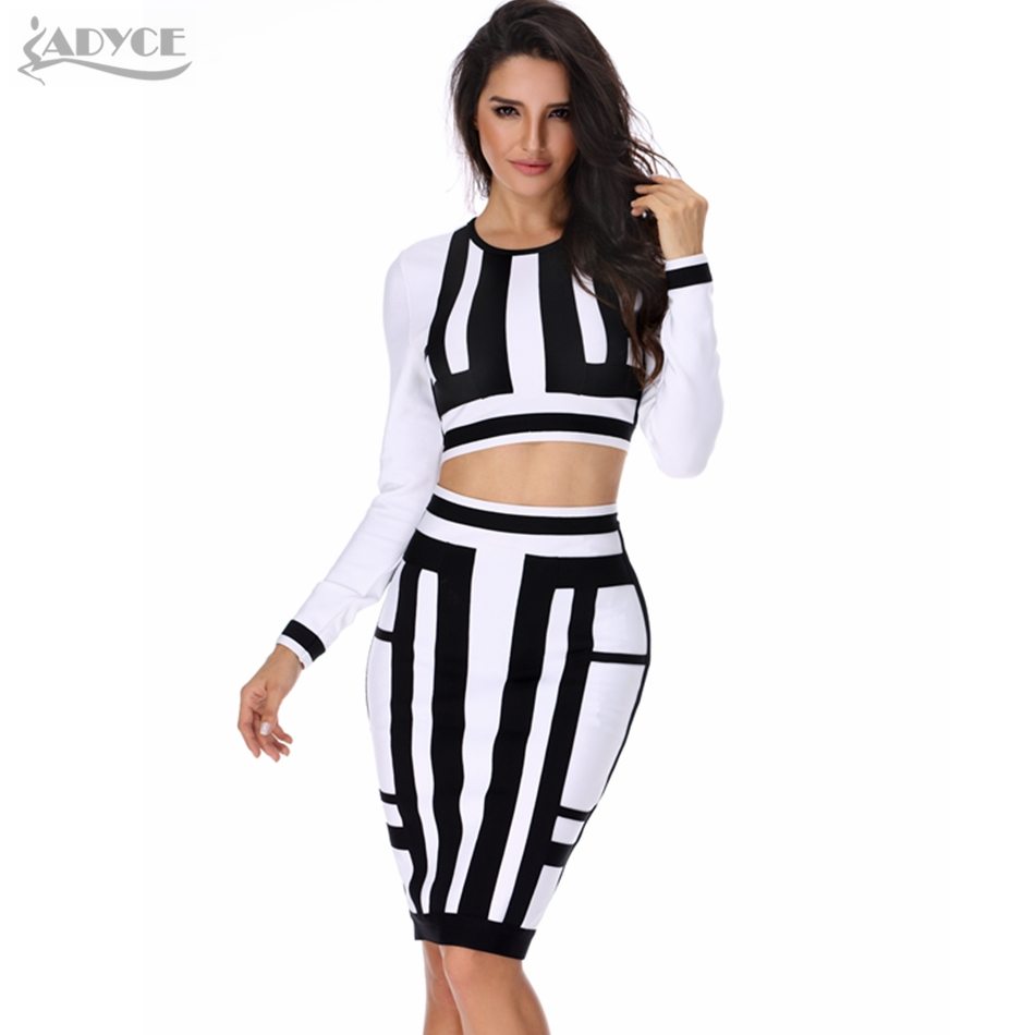 2019 New Women Summer Bandage Dress Two Piece Set White Black Patchwork Sexy Lady Bodycon Party Dress Celebrity Casual Vestidos