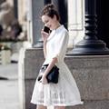 2017 Новый Летний Кружева Dress Элегантный Выдалбливают Стоять Половина Рукава Мода Туника Vestidos Женщины Dress Vintage Office Dress