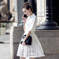 2017 New Summer Lace Dress Elegant Hollow Out Stand Half Sleeve Fashion Tunic Vestidos Women Dress Vintage Office Dress