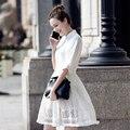 2017 nova verão lace dress elegante oco out suporte meia manga moda túnica vestidos mulheres dress escritório do vintage dress