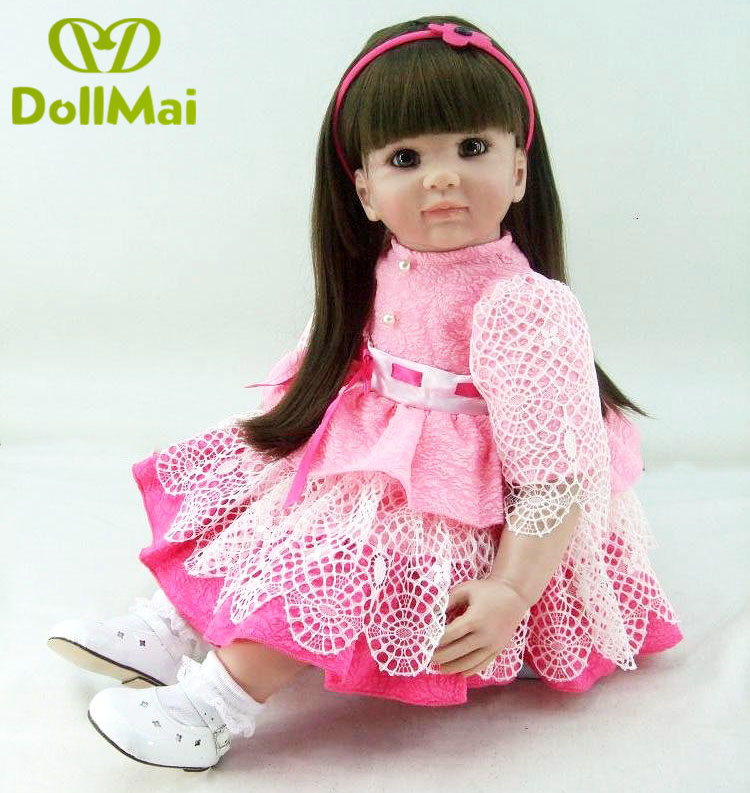 22 56 cm Reborn babys puppen infant prinzessin kleinkind rose rosa kleid spielzeug baby mädchen realistische brinquedos Spielzeug geschenke sammlung - 5
