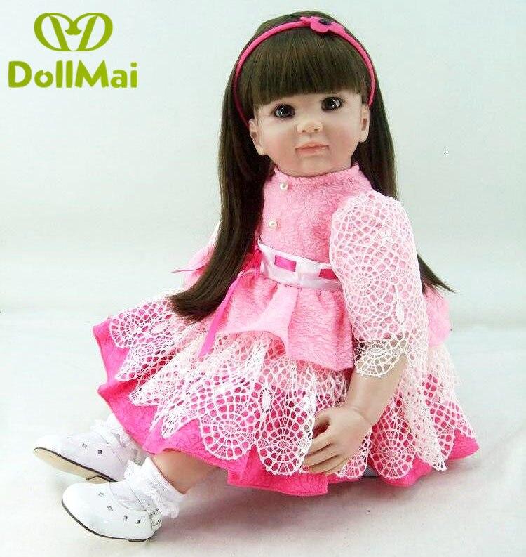 22 56 cm bebês Reborn bonecas brinquedo do bebê infantil princesa criança rosa vestido rosa menina realista brinquedos Brinquedos presentes coleção - 5