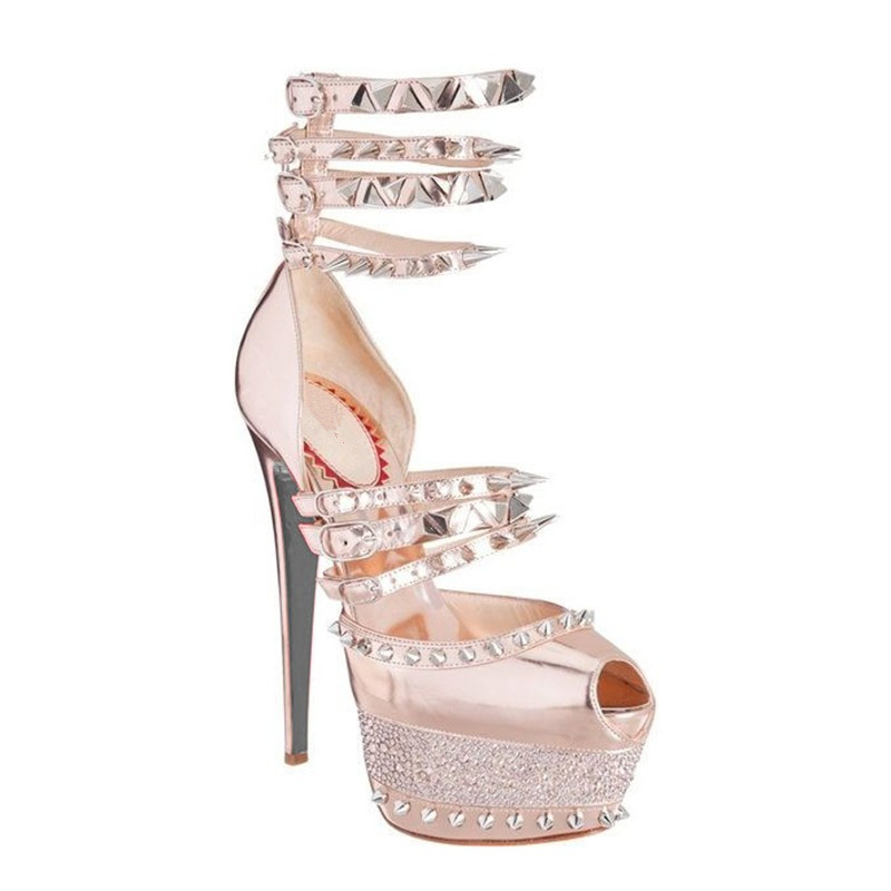 PADEGAO sexy women sandals high heels  lady shoes sandals wedding plus size  waterproof rivet shoes sandals gold padegao 2017 new fashion high heels women sandals sexy decorated with metal chain wear convenient cool slippers shoes women shoe