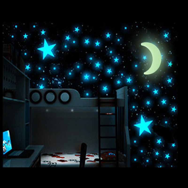 100 pcs 3D Glow In The Dark Stars with Moon Bedroom Home Wall Decor Home Art DIY