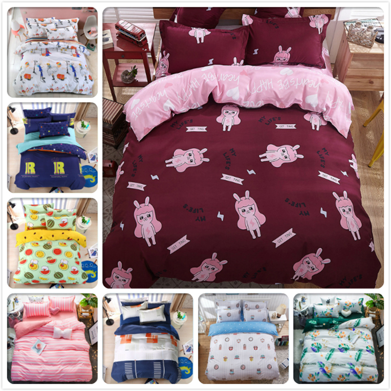 Girl Kids Creative Duvet Cover Twin Double Queen King Size Bedlinens 1.5m 1.8m 2.0m Flat Sheet Bed Linens 3pcs 4 pcs Bedding Set