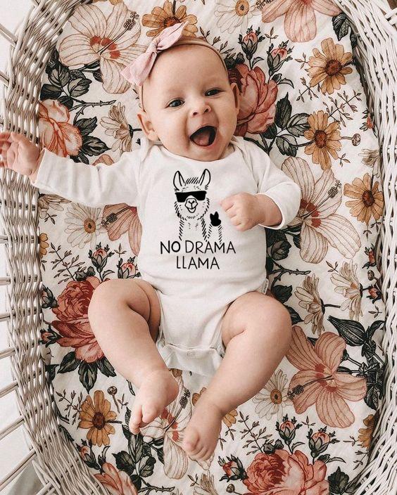 Infant Toddler Autumn Bodysuits No Drama Llama Baby Boys Girls Bodysuit Jumpsuits Cotton Clothes Outfits Children  Onesie 0-24M