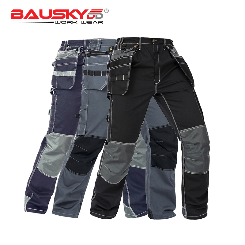 Working Clothes Men's Black Workwear Pants Multi Pockets Working Uniforms Pockets For Tools Free Shipping B128