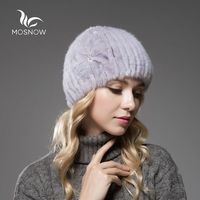 MOSNOW Fashion Warm Winter Hats For Women Genuine Mink Fur Flower Warm Striped Knitted Casual Solid