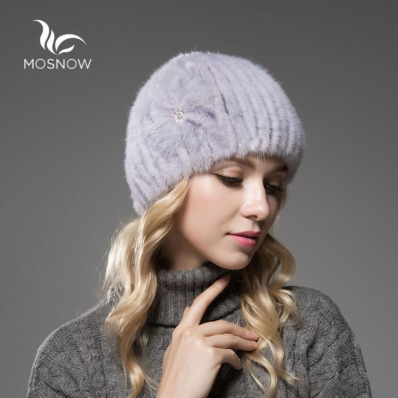אופנה כובעי חורף חמים לנשים פרווה מינק מקורית פרח פרווה חמה סרוגה סרוגה מזדמן נקבה מצנפת Femme בימס