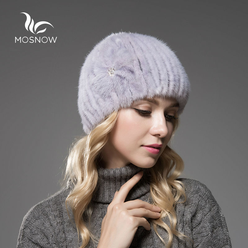 Moda Chapéus de Inverno Quente Para As Mulheres Genuína Pele De Vison Flor Listrado Quente Malha Gorros Bonnet Femme Casuais Sólida Feminino