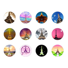 12pcs lot Eiffel Tower glass snap button jewelry luxurious alloy bottom fit ginger necklace watches women