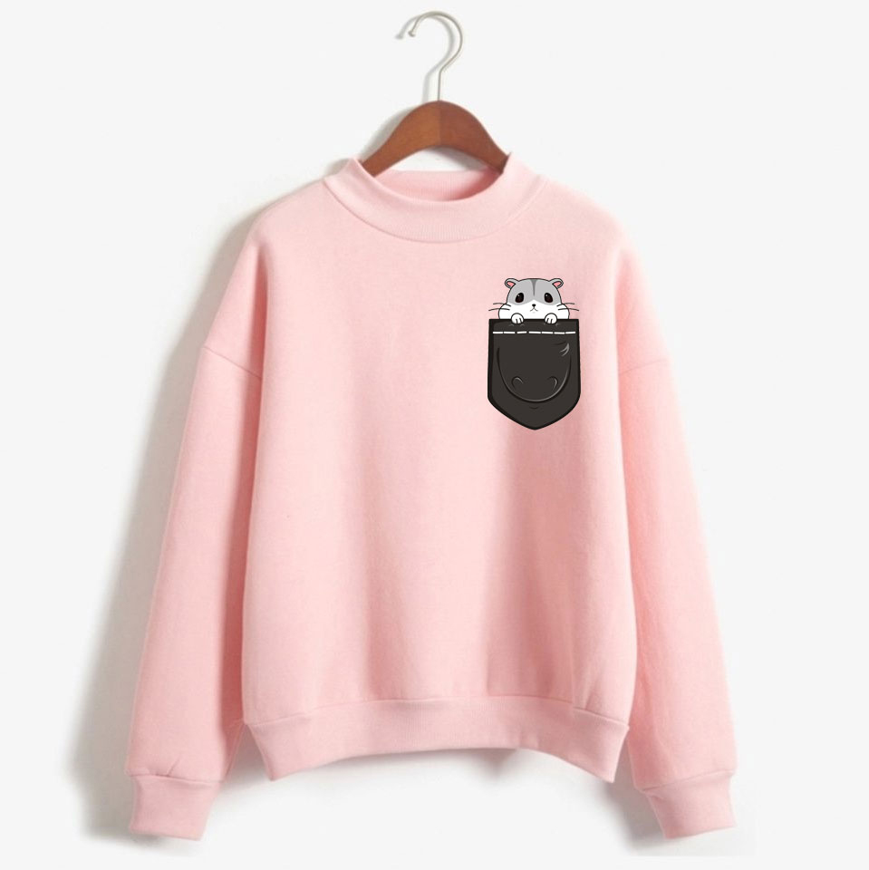 Kpop Pocket Hamster Sweatshirt Women Hip Hop Lovely Pet Print Mens Hoodie Sweatshirt Pocket Pet Fashion Casual Clothes