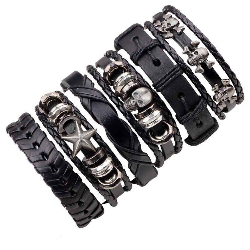 2018 Vintage Black Genuine Leather Braided Mens Skull Bracelets Homme Charm Punk Wristband Men Bracelet Bangles Set Jewelry