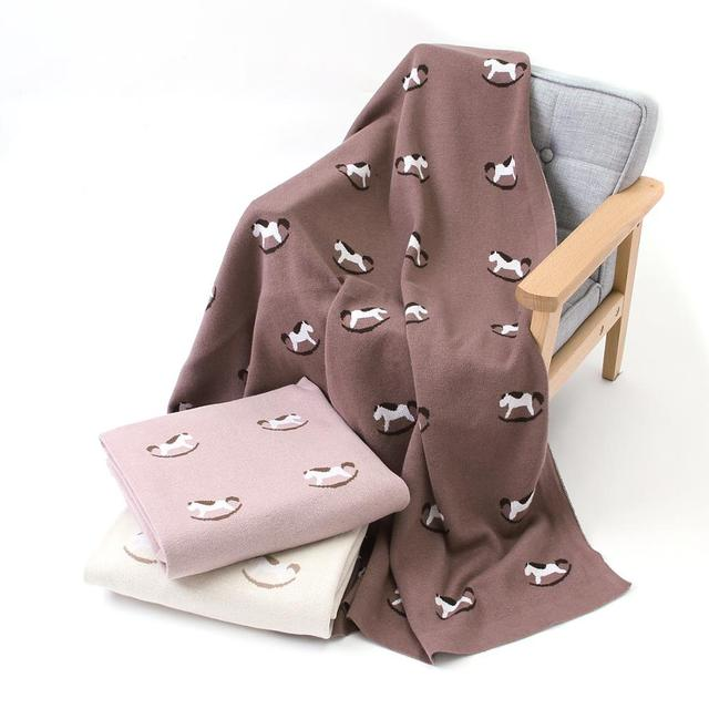 Baby Blankets Knitted Cotton Newborn Crib Bedding Blanket Cute Infant Boys Girls Stroller Basket Covers 100*80cm Kids Quilts