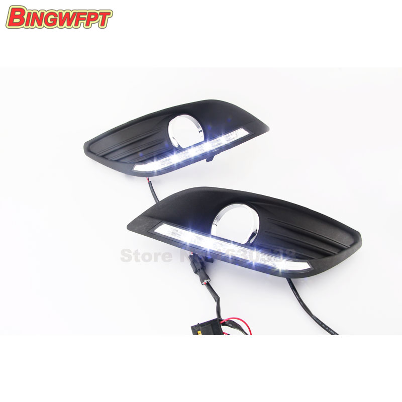 Dimming style Relay and Waterproof 12V LED CAR DRL Daytime running lights with fog light hole for Ford focus 2012 2013 waterproof car relay 12v 40a 4 modified car with cable