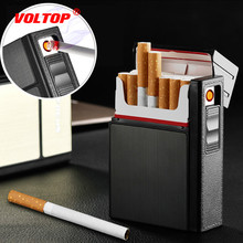20pcs/box Cigarette Lighter Case Car Accesories USB Charged Electronic Creative Box Holder with Flameless Windproof