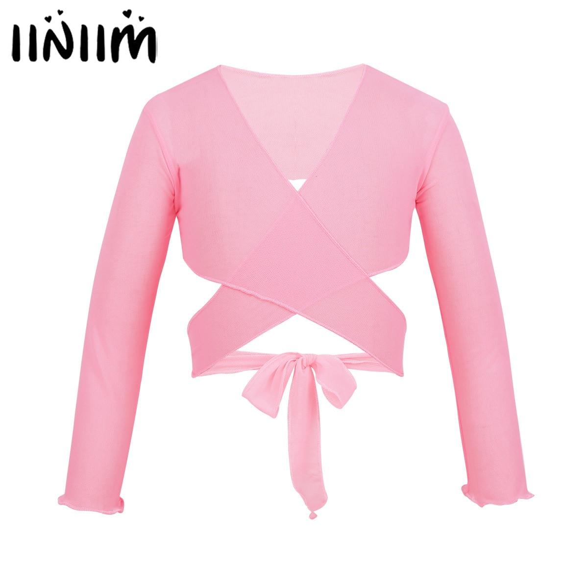 iiniim Kids Girls Ballet Tutu Lyrical  Ballerina Costumes Wrap Top with Adjustable Tie Closure Gymnastics Leotard Dance Wear